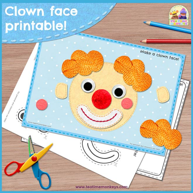 photo about Printable Clown Face named Produce a Clown Facial area - Experience Sections Printable - Tea Period Monkeys